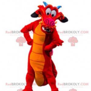 Mascotte del drago rosso comico. Costume da drago. -