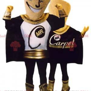 Premium superheld mascotte, zwart en goud - Redbrokoly.com
