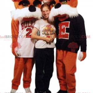 Mascot of two orange dogs in a supporter jersey - Redbrokoly.com
