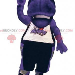 Mascotte ippopotamo viola in abbigliamento sportivo. -