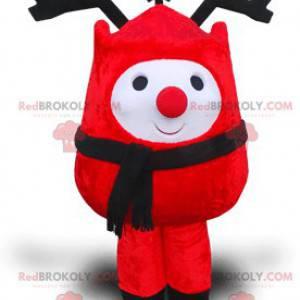 Mascotte pupazzo di neve rosso con grandi corna nere -