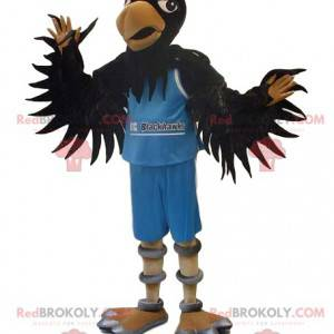 Black eagle mascot in blue supporter outfit - Redbrokoly.com