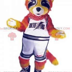 Mascota de mapache naranja vestida como partidaria. -