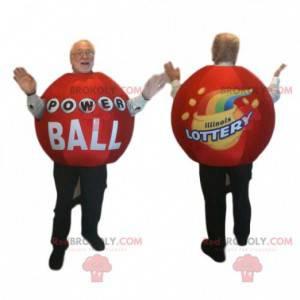Maskotka piłka czerwony loterii. Kostium piłka loteryjna -