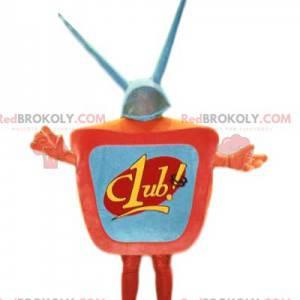 Pomarańczowa maskotka telewizyjna z anteną. Kostium telewizyjny