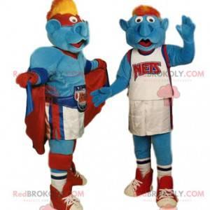 Dupla mascote de super-heróis e jogadores de basquete -