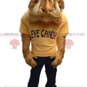 Hairy beige monster mascot with huge teeth - Redbrokoly.com