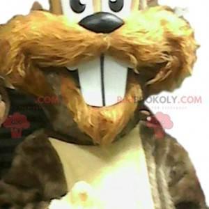 Mascote de esquilo com dentes bonitos. Fantasia de esquilo -
