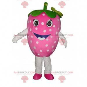 Strawberry mascot coquettish. Strawberry costume -