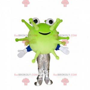 Smiling green virus mascot. Virus costume - Redbrokoly.com