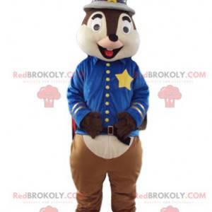Mascota de la ardilla en traje de sheriff. Disfraz de ardilla -