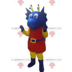 Mascote do dragão azul com roupa vermelha. Fantasia de dragão