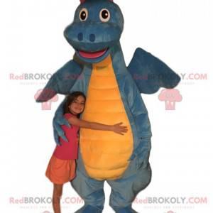 Mascota del dragón azul y amarillo. Traje de dragón -