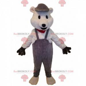 Niedźwiedź maskotka z szarym kombinezonem. Kostium niedźwiedzia