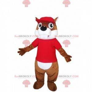 Mascot brown beaver with a red jersey. - Redbrokoly.com