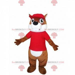 Mascote castor marrom com uma camisa vermelha. - Redbrokoly.com