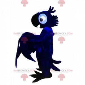 Mascote do papagaio azul à noite. Fantasia de papagaio -
