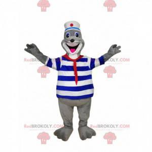 Entusiasta mascote da foca em traje de marinheiro. -