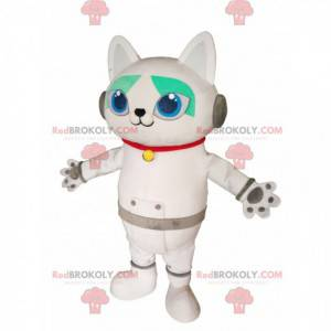 Mascote de gato branco com fones de ouvido. Fantasia de gato