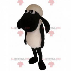 Mascote de ovelha preto e branco. Fantasia de ovelha -