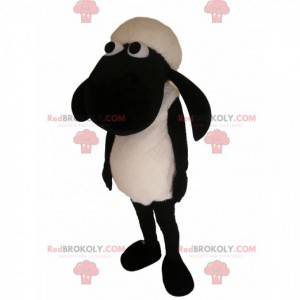 Mascotte delle pecore in bianco e nero. Costume da pecora -