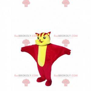 Mascote de gato voador vermelho e amarelo. Traje de gato -