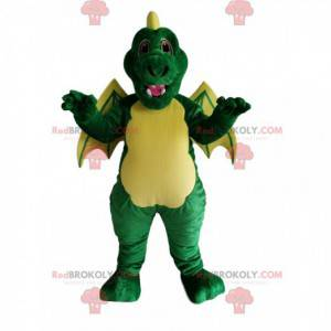 Mascote do dragão verde e amarelo. Fantasia de dragão -