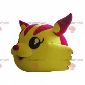 Maskotka głowa kota w kolorze fuksji i żółtego. - Redbrokoly.com