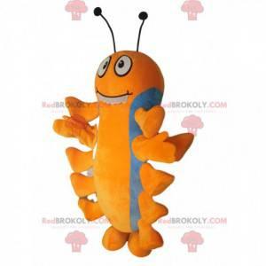 Oranje en blauwe duizendpoot mascotte. - Redbrokoly.com