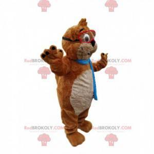 Mascote castor marrom e branco com óculos - Redbrokoly.com