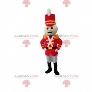 Mascote do soldado em roupa vermelha. Fantasia de soldado -