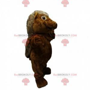 Mascote do ouriço marrom fofo. Fantasia de ouriço -