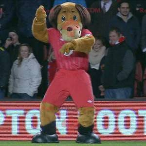 Brown dog mascot in red sportswear - Redbrokoly.com