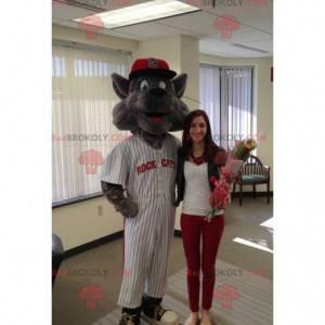 Graues Katzenmaskottchen im Baseball-Outfit - Redbrokoly.com