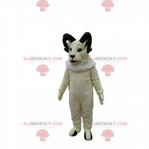 Maestosa mascotte di capra bianca. Costume Ariete -