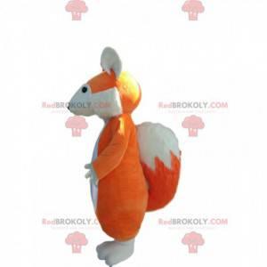 Mascotte di volpe arancione e bianca. Costume da volpe -
