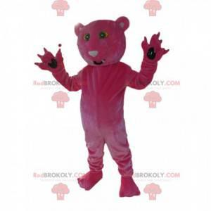Mascot fuchsia panther. Panther costume - Redbrokoly.com