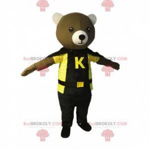 Medvěd maskot s černým pláštěm a žlutým tričkem - Redbrokoly.com