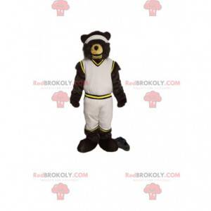 Bear mascot in white sportswear. Bear costume - Redbrokoly.com