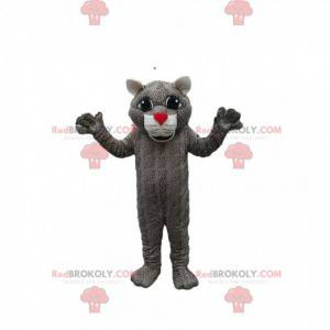 Leopard mascot with a red muzzle. Leopard costume. -