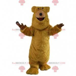 Velmi veselý maskot hnědého medvěda. Medvědí kostým -