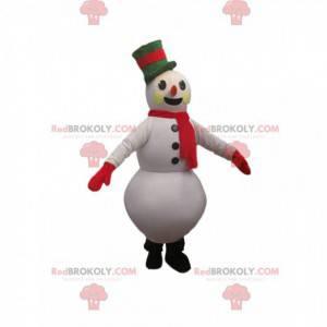 Mascota de muñeco de nieve con un hermoso sombrero verde -