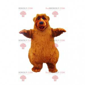 Super šťastný medvěd hnědý maskot. Medvědí kostým -