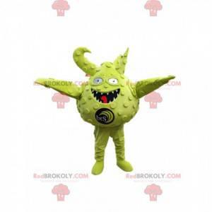 Maskot malé kulaté a zelené monstrum. Kostým monstrum -