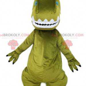Mascote do dinossauro verde e sua crista laranja. -
