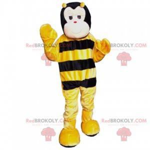 Nettes schwarzes und gelbes Bienenmaskottchen - Redbrokoly.com