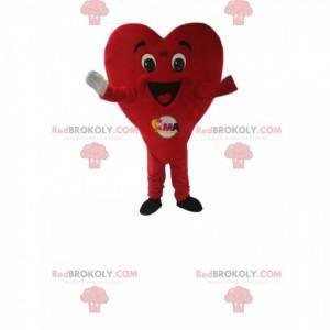 Velmi šťastný maskot červené srdce. Srdce kostým -