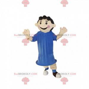 Mała dziewczynka maskotka z niebieską sukienką. - Redbrokoly.com