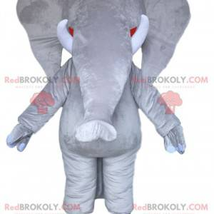 Mascote do elefante cinza majestoso. Fantasia de elefante cinza