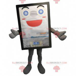 Grå og smilende reklametavle-maskot - Redbrokoly.com